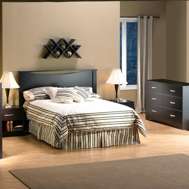 Chocolate Back Bay 3 Piece Bedroom Set - Back Bay Full Platform Bed with Storage, Step One Double Dresser and Nightstand by South Shore