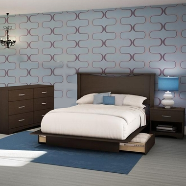 Chocolate Back Bay 3 Piece Bedroom Set - Back Bay Queen Platform Bed with Storage, Step One Double Dresser and Nightstand by South Shore