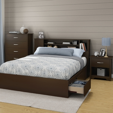Chocolate Fusion 3 Piece Bedroom Set - Fusion Queen Mates Bed, 5 Drawer Chest and Nightstand by South Shore - Click to enlarge