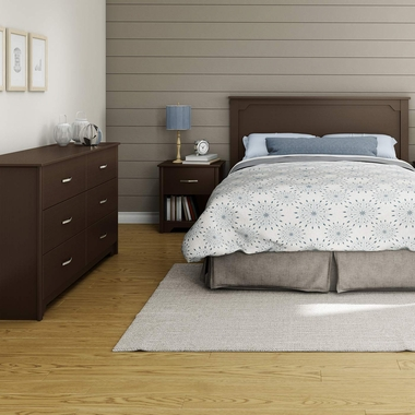Chocolate Fusion 3 Piece Bedroom Set - Fusion Queen Mates Bed, Double Dresser and Nightstand by South Shore - Click to enlarge