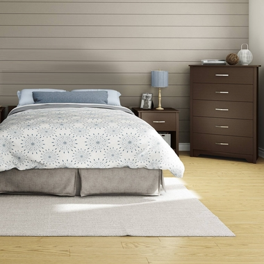 Chocolate Fusion 3 Piece Bedroom Set - Step One Full/Queen Platform Bed, Fusion 5 Drawer Chest and Nightstand by South Shore - Click to enlarge