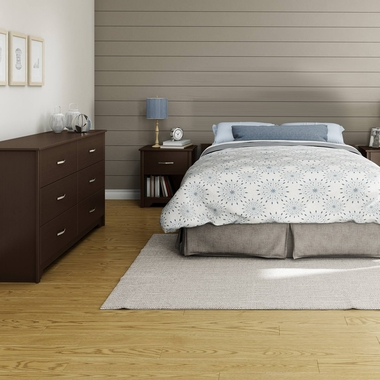 Chocolate Fusion 3 Piece Bedroom Set - Step One Full/Queen Platform Bed, Fusion Double Dresser and Nightstand by South Shore - Click to enlarge