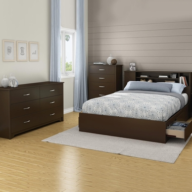 Chocolate Fusion 4 Piece Bedroom Set - Fusion Queen Mates Bed, Bookcase Headboard, Double Dresser and 5 Drawer Chest by South Shore - Click to enlarge