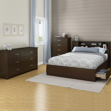 Chocolate Fusion 4 Piece Bedroom Set - Step One Full/Queen Platform Bed, Fusion Full / Queen Headboard, Double Dresser and 5 Drawer Chest by South Shore - Click to enlarge