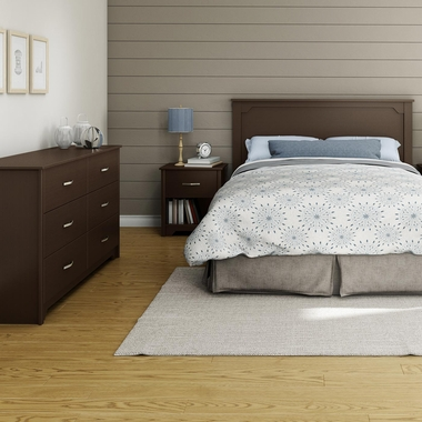 Chocolate Fusion 4 Piece Bedroom Set - Step One Full/Queen Platform Bed, Fusion Full / Queen Headboard, Double Dresser and Nightstand by South Shore - Click to enlarge