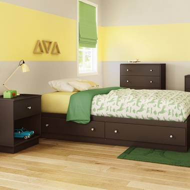 Chocolate Litchi 3 Piece Bedroom Set - Litchi Twin Mates Bed, 4 Drawer Chest and Nightstand by South Shore - Click to enlarge