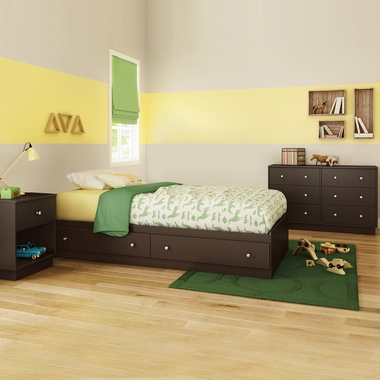 Chocolate Litchi 3 Piece Bedroom Set - Litchi Twin Mates Bed, Double Dresser and Nightstand by South Shore - Click to enlarge