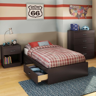Chocolate Logik 3 Piece Bedroom Set - Logik Twin Mates Bed, 4 Drawer Chest and Nightstand by South Shore - Click to enlarge
