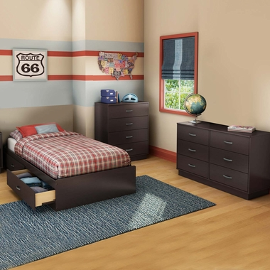Chocolate Logik 3 Piece Bedroom Set - Logik Twin Mates Bed, Double Dresser and Nightstand by South Shore - Click to enlarge