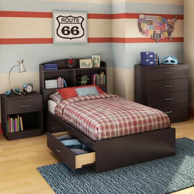 Chocolate Logik 4 Piece Bedroom Set - Logik Twin Mates Bed, Headboard, 4 Drawer Chest and Nightstand by South Shore - Click to enlarge