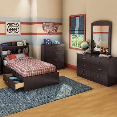 Chocolate Logik 4 Piece Bedroom Set - Logik Twin Mates Bed, Headboard, Double Dresser and 4 Drawer Chest by South Shore - Click to enlarge