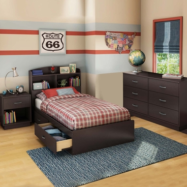 Chocolate Logik 4 Piece Bedroom Set - Logik Twin Mates Bed, Headboard, Double Dresser and Nightstand by South Shore - Click to enlarge