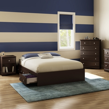 Chocolate Morning Dew 3 Piece Bedroom Set - Morning Dew Full Mates Bed, 5 Drawer Chest and Nightstand by South Shore