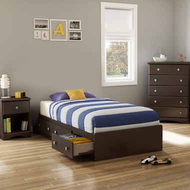 Chocolate Morning Dew 3 Piece Bedroom Set - Morning Dew Twin Mates Bed, 5 Drawer Chest and Nightstand by South Shore