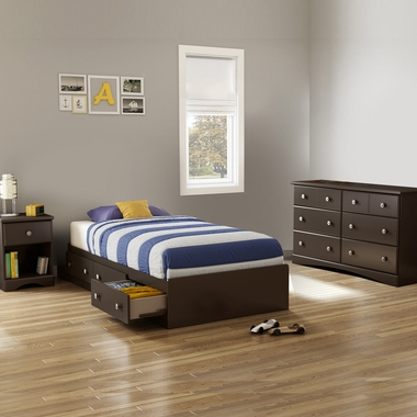 Chocolate Morning Dew 3 Piece Bedroom Set - Morning Dew Twin Mates Bed, Double Dresser and Nightstand by South Shore