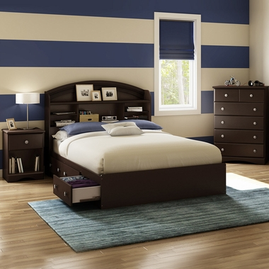 Chocolate Morning Dew 4 Piece Bedroom Set - Morning Dew Full Mates Bed, Bookcase Headboard, 5 Drawer Chest and Nightstand by South Shore