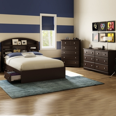 Chocolate Morning Dew 4 Piece Bedroom Set - Morning Dew Full Mates Bed, Bookcase Headboard, Double Dresser and 5 Drawer Chest by South Shore