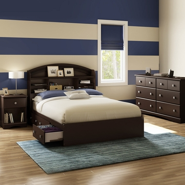 Chocolate Morning Dew 4 Piece Bedroom Set - Morning Dew Full Mates Bed, Bookcase Headboard, Double Dresser and Nightstand by South Shore