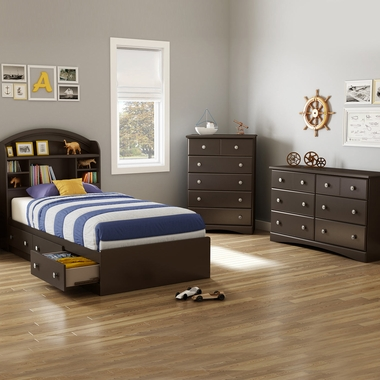 Chocolate Morning Dew 4 Piece Bedroom Set - Morning Dew Twin Mates Bed, Bookcase Headboard, Double Dresser and 5 Drawer Chest by South Shore