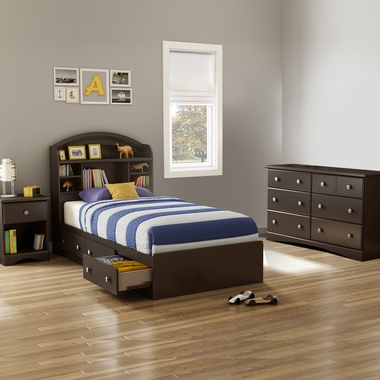 Chocolate Morning Dew 4 Piece Bedroom Set - Morning Dew Twin Mates Bed, Bookcase Headboard, Double Dresser and Nightstand by South Shore