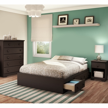 Chocolate Summer Breeze 3 Piece Bedroom Set - Summer Breeze Full Mates Bed, 5 Drawer Chest and Nightstand by South Shore