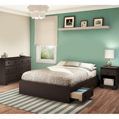 Chocolate Summer Breeze 3 Piece Bedroom Set - Summer Breeze Full Mates Bed, Double Dresser and Nightstand by South Shore