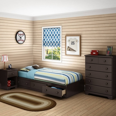 Chocolate Summer Breeze 3 Piece Bedroom Set - Summer Breeze Twin Mates Bed, 5 Drawer Chest and Nightstand by South Shore - Click to enlarge
