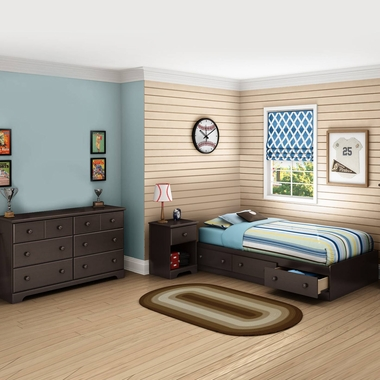 Chocolate Summer Breeze 3 Piece Bedroom Set - Summer Breeze Twin Mates Bed, Double Dresser and Nightstand by South Shore - Click to enlarge