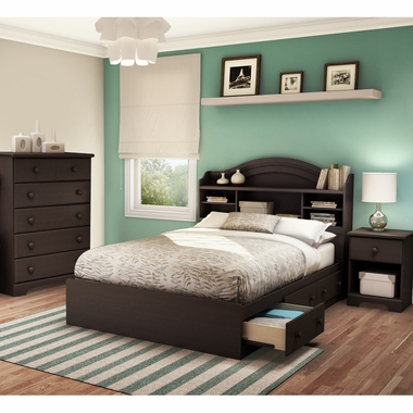 Chocolate Summer Breeze 4 Piece Bedroom Set - Summer Breeze Full Mates Bed, Headboard, 5 Drawer Chest and Nightstand by South Shore