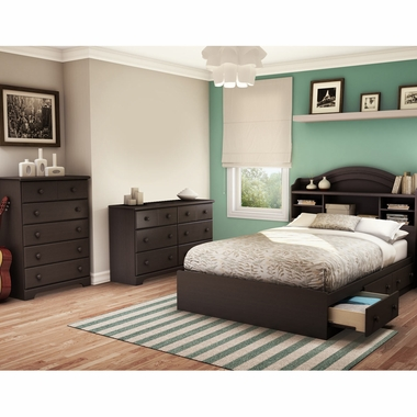 Chocolate Summer Breeze 4 Piece Bedroom Set - Summer Breeze Full Mates Bed, Headboard, Double Dresser and 5 Drawer Chest by South Shore