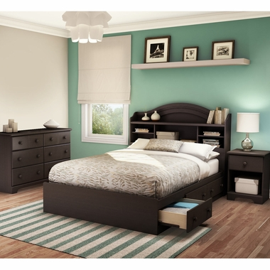 Chocolate Summer Breeze 4 Piece Bedroom Set - Summer Breeze Full Mates Bed, Headboard, Double Dresser and Nightstand by South Shore