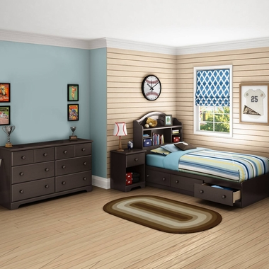 Chocolate Summer Breeze 4 Piece Bedroom Set - Summer Breeze Twin Mates Bed, Headboard, Double Dresser and Nightstand by South Shore - Click to enlarge