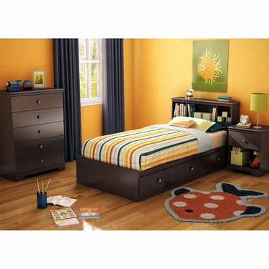 Chocolate Zach 4 Piece Bedroom Set - Zach Twin Mates Bed, Headboard, 5 Drawer Chest and Nightstand by South Shore