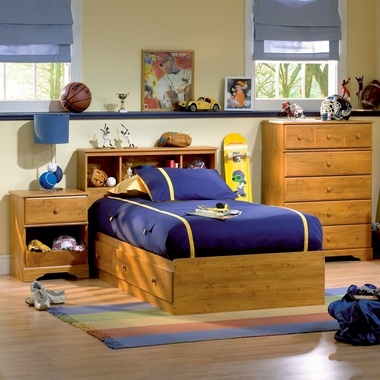 Country Pine Little Treasures 4 Piece Bedroom Set - Little Treasures Full Mates Bed, Headboard, 5 Drawer Chest and Nightstand by South Shore - Click to enlarge