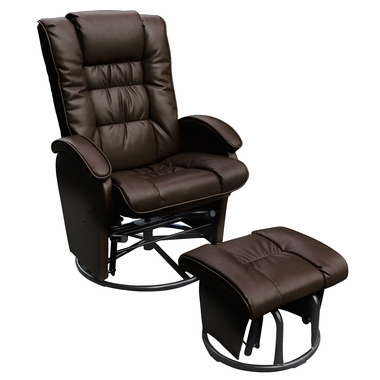 Glider Ottoman Combo Push Back Bonded Leather Recliner