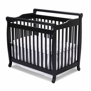 Ebony Emily Mini 2 in 1 Convertible Sleigh Crib by DaVinci - Click to enlarge