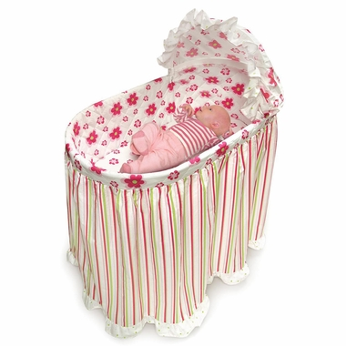 Embrace Bassinet with Stripe and Flower Bedding Set by Badger Basket - Click to enlarge
