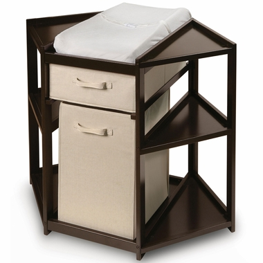 Espresso Diaper Corner Changing Table with Hamper and by Badger Basket - Click to enlarge