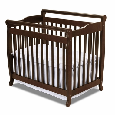 Espresso Emily Mini 2 in 1 Convertible Sleigh Crib by DaVinci - Click to enlarge