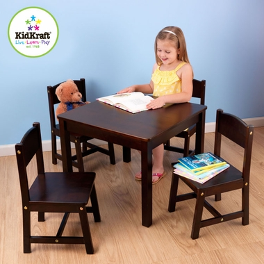 Espresso Farmhouse Table and 4 Chairs by KidKraft