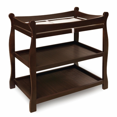 Espresso Sleigh Changing Table by Badger Basket - Click to enlarge