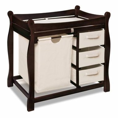 Espresso Sleigh Changing Table with Hamper and 3 Baskets by Badger Basket - Click to enlarge