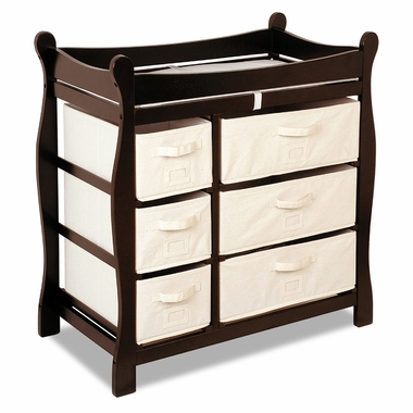 Espresso Sleigh Changing Table with Six Baskets by Badger Basket - Click to enlarge
