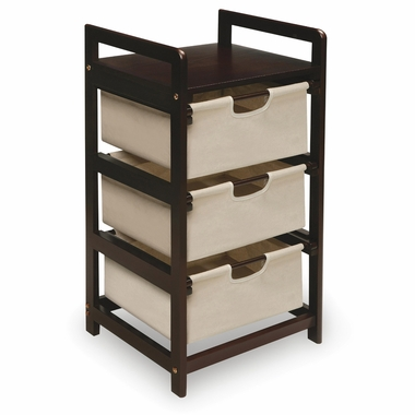 Espresso Three Drawer Hamper/Storage Unit with Canvas Drawers by Badger Basket - Click to enlarge