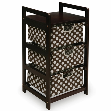 Espresso with Brown Polka Dots Three Drawer Hamper/Storage Unit with Canvas Drawers by Badger Basket - Click to enlarge