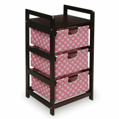 Espresso with Pink Polka Dots Three Drawer Hamper and Storage Unit by Badger Basket - Click to enlarge
