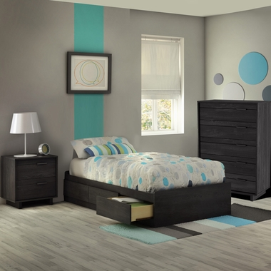 Gray Oak Fynn 3 Piece Bedroom Set - Fynn Twin Mates Bed, 5 Drawer Chest and Nightstand by South Shore