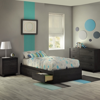 Gray Oak Fynn 3 Piece Bedroom Set - Fynn Twin Mates Bed, 6 Drawer Dresser and Nightstand by South Shore