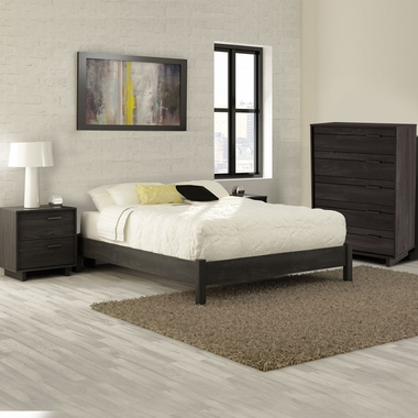 Gray Oak Fynn 4 Piece Bedroom Set - Fynn Full Platform Bed, 5 Drawer Chest and Nightstand by South Shore