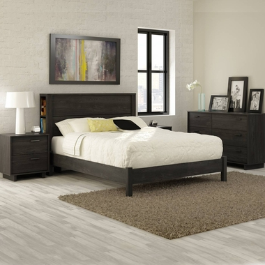 Gray Oak Fynn 4 Piece Bedroom Set - Fynn Full Platform Bed, Headboard, Double Dresser and Nightstand by South Shore